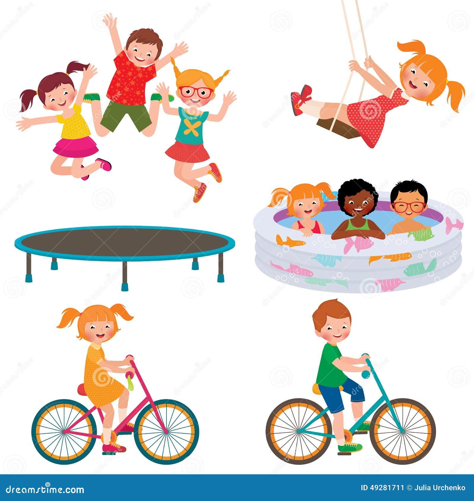 Stock Vector cartoon illustration of summer children activities.