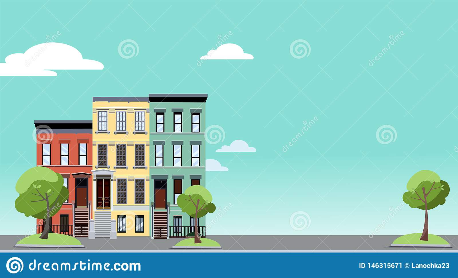 Summer in the city. Horizontal background with colorful cityscape with cozy green trees near two-storied houses. Banner with free