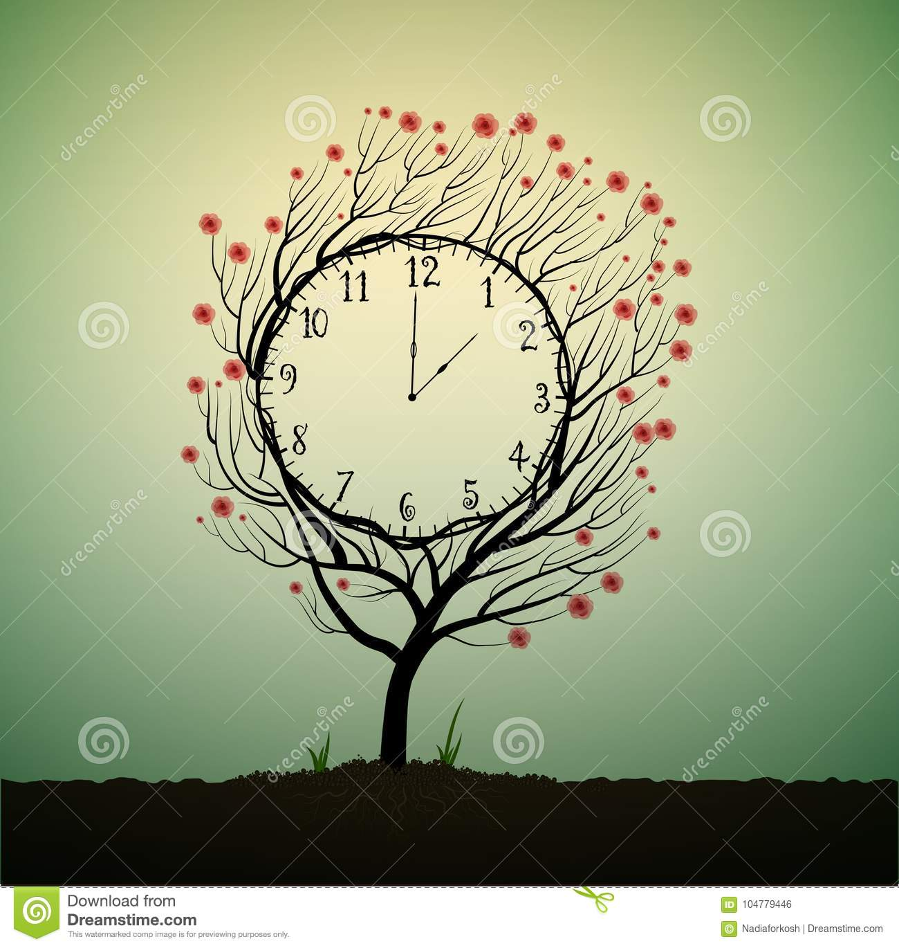 Summer clock, time to blossom, tree looks like clock with red flowers,