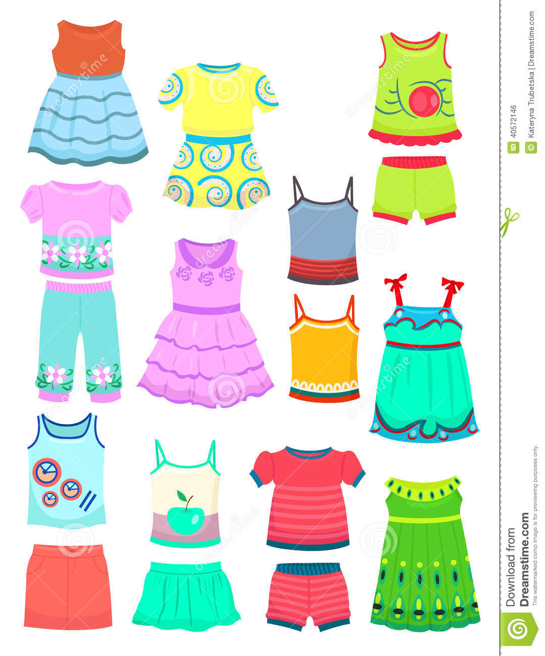 Summer Clothes For Little Girls Stock Vector ...