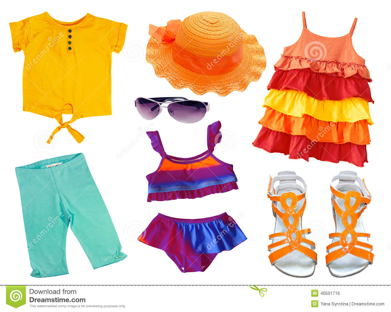 Kid's Summer Fashion Clothes. Stock Photo - Image: 50146977