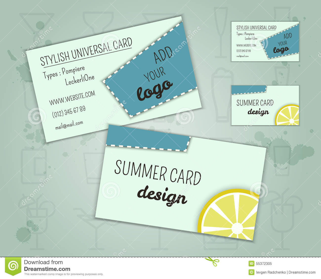 summer cocktail party business card layout stock vector. Black Bedroom Furniture Sets. Home Design Ideas
