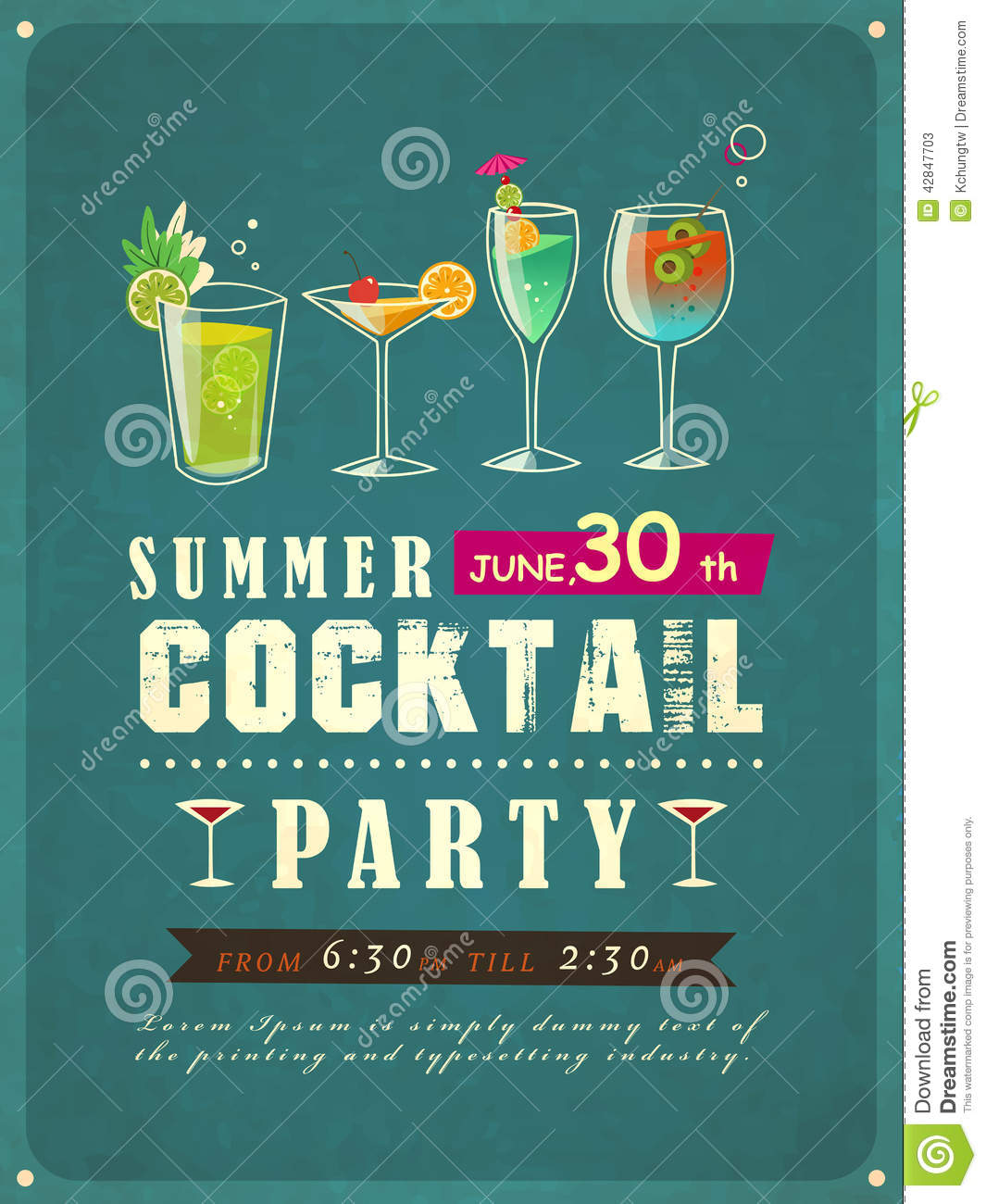 summer cocktail party poster stock vector illustration of mood atmosphere 42847703. Black Bedroom Furniture Sets. Home Design Ideas