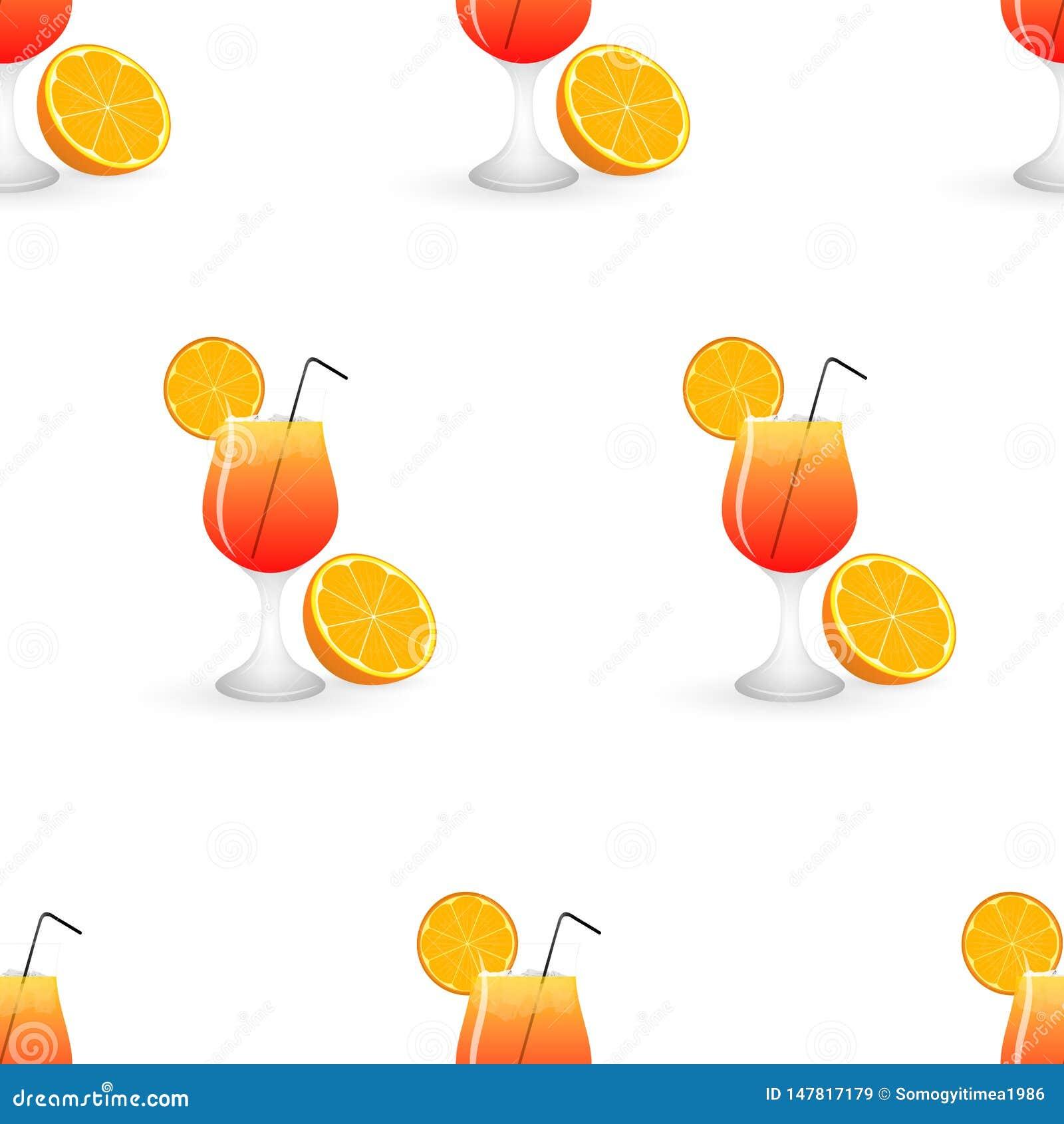 Summer cocktail seamless pattern with orange.