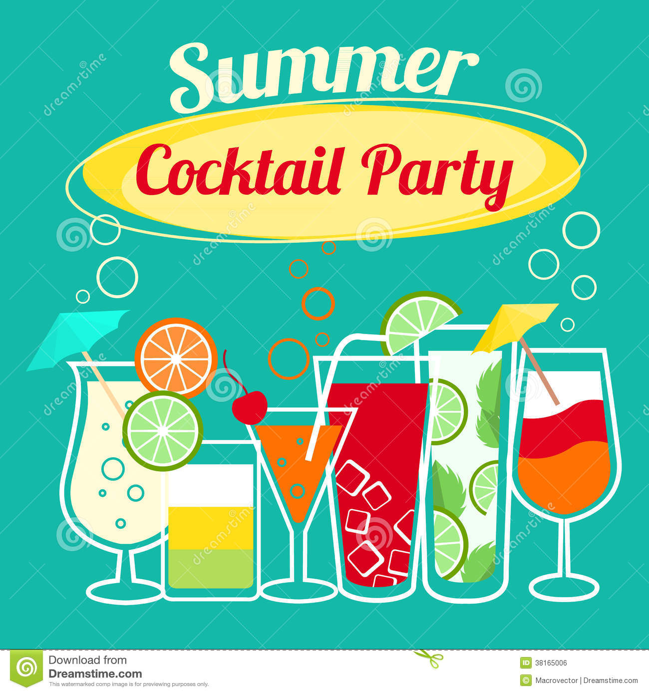 Summer cocktails party template stock vector for Summer drinks for party