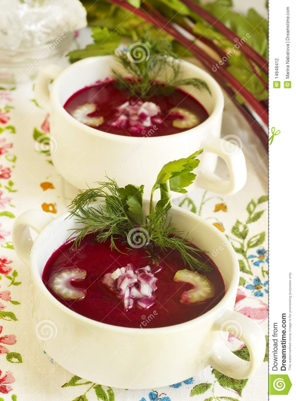 Download Summer cold beet soup stock photo. Image of borsch, gourmet - 14848412