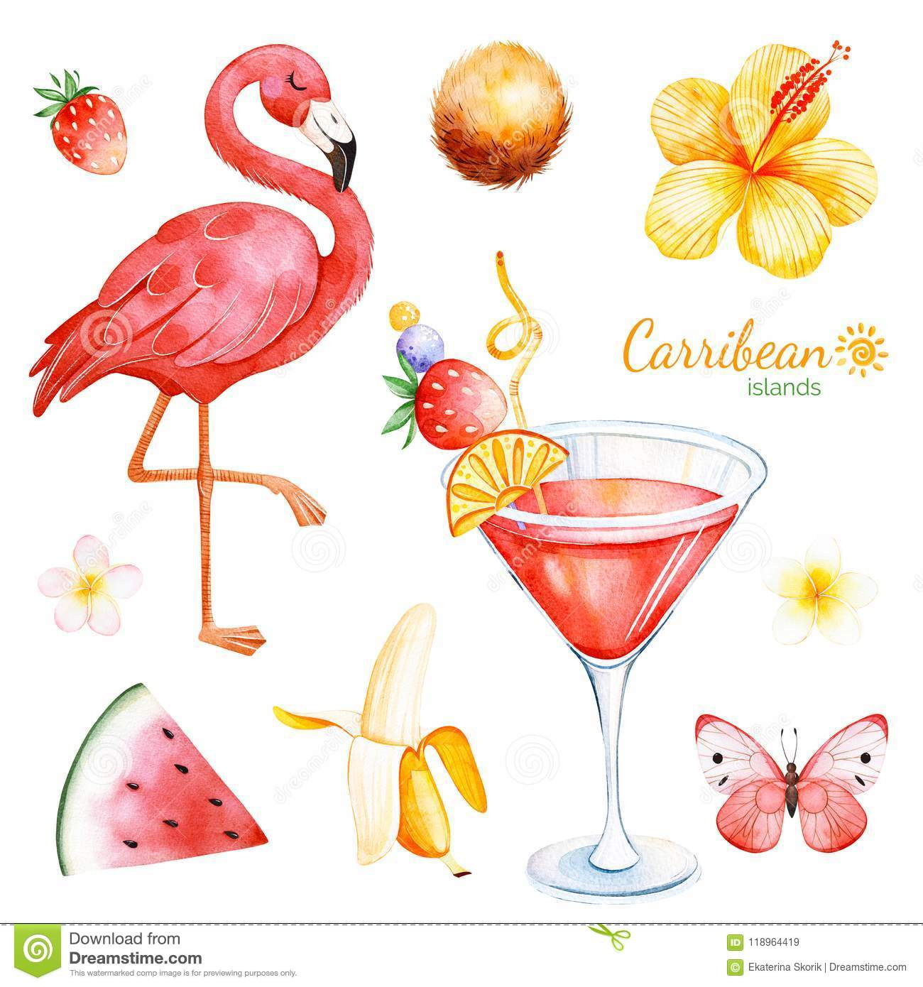 Summer collection with exotic fruits flamingo stock illustration summer collection with exotic fruits flamingo hibiscus flower tropical butterfly plumeria flower cocktail perfect for wedding invitations izmirmasajfo