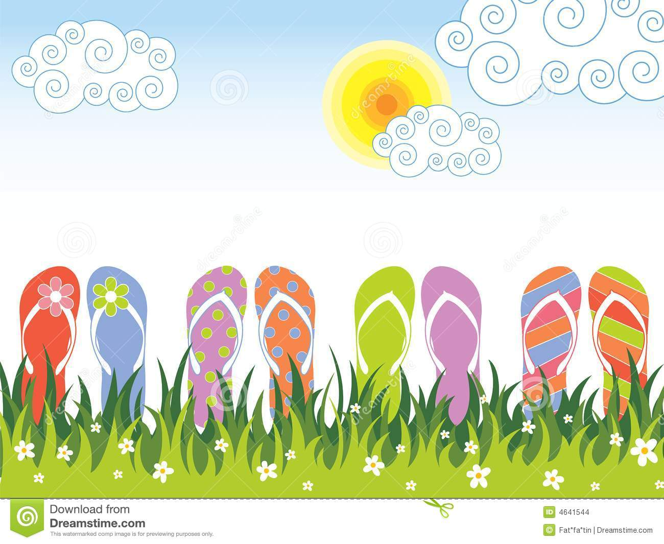 Stock Images Summer Colorful Flip Flops Grass Image4641544 on Green Spiral Clip