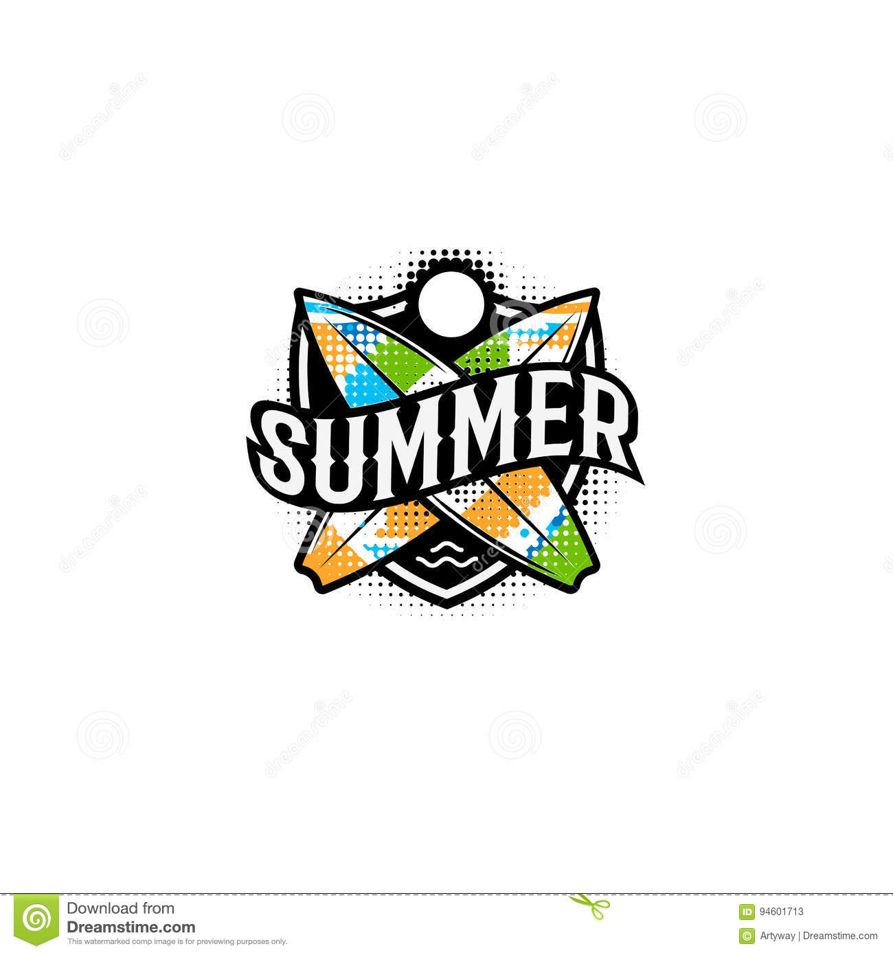 Summer Colorful Modern Logo In A Sports Style 2 Surf Sun And Text