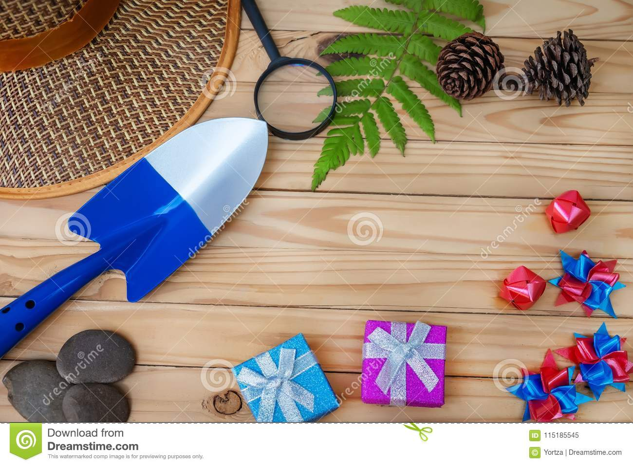 Summer concept flat lay styles on top view with free space for t