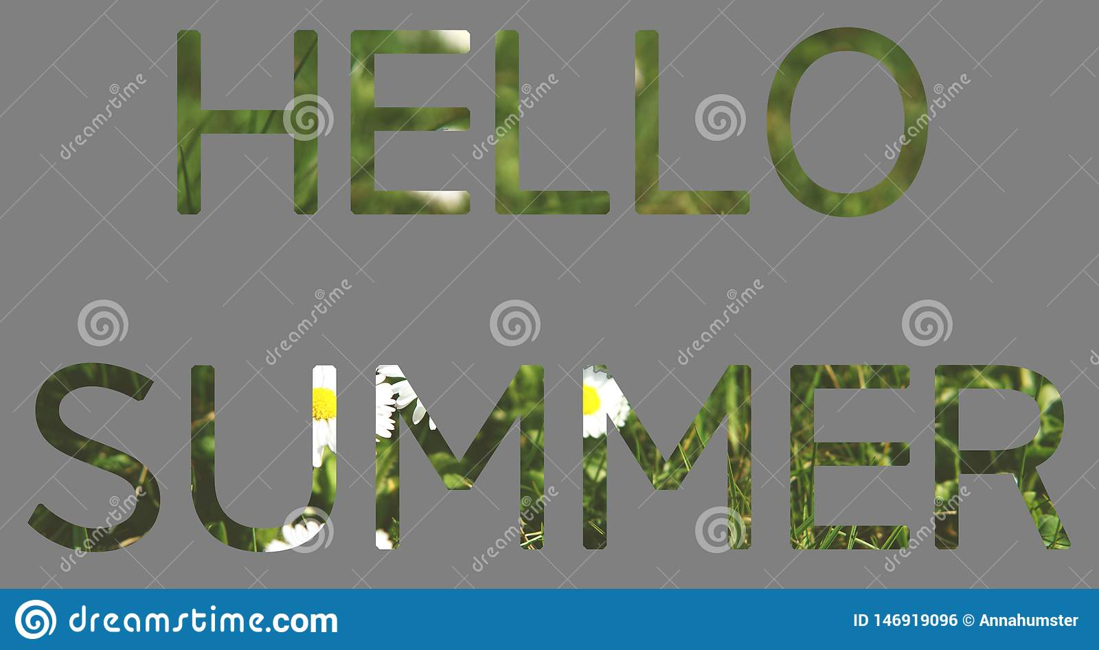 Summer concept, letters HELLO SUMMER of grass and flowers