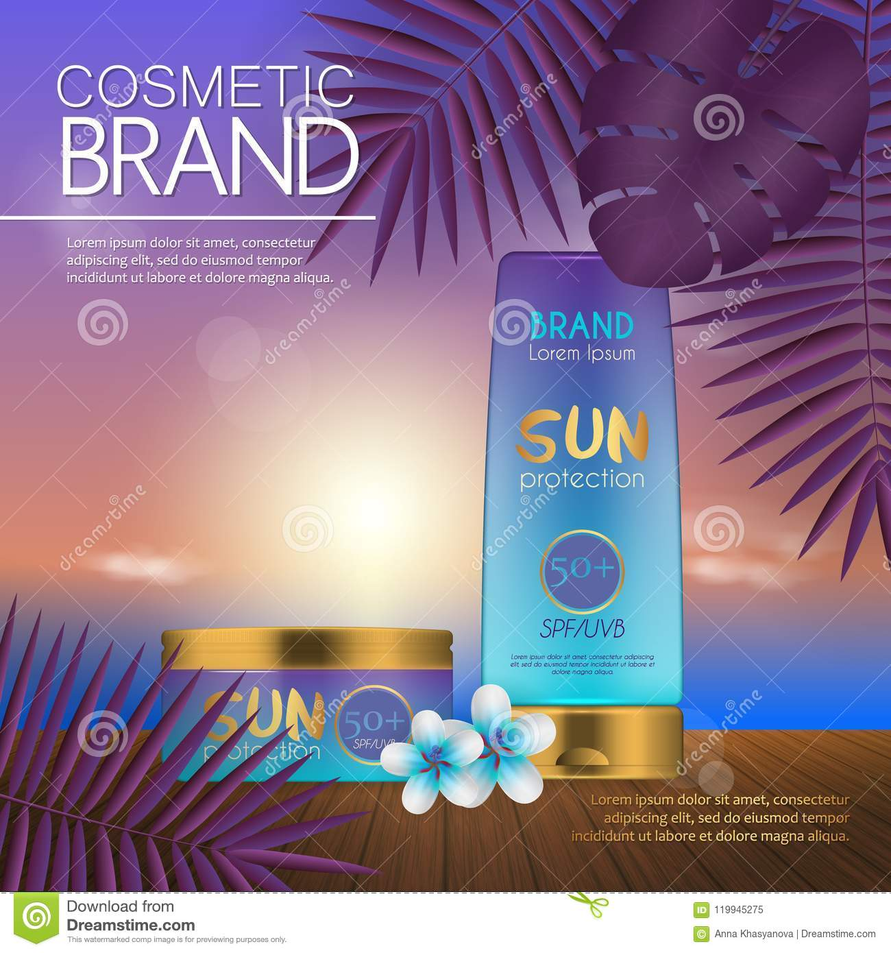 Summer cosmetic template on the sunset beach with exotic palm leaves background realistic 3d design