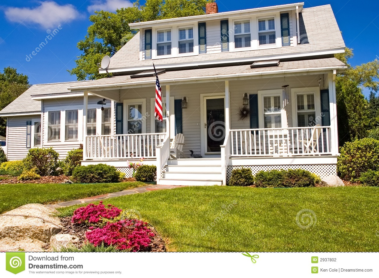 Summer Cottage With Porch Stock Photo Image Of Bright