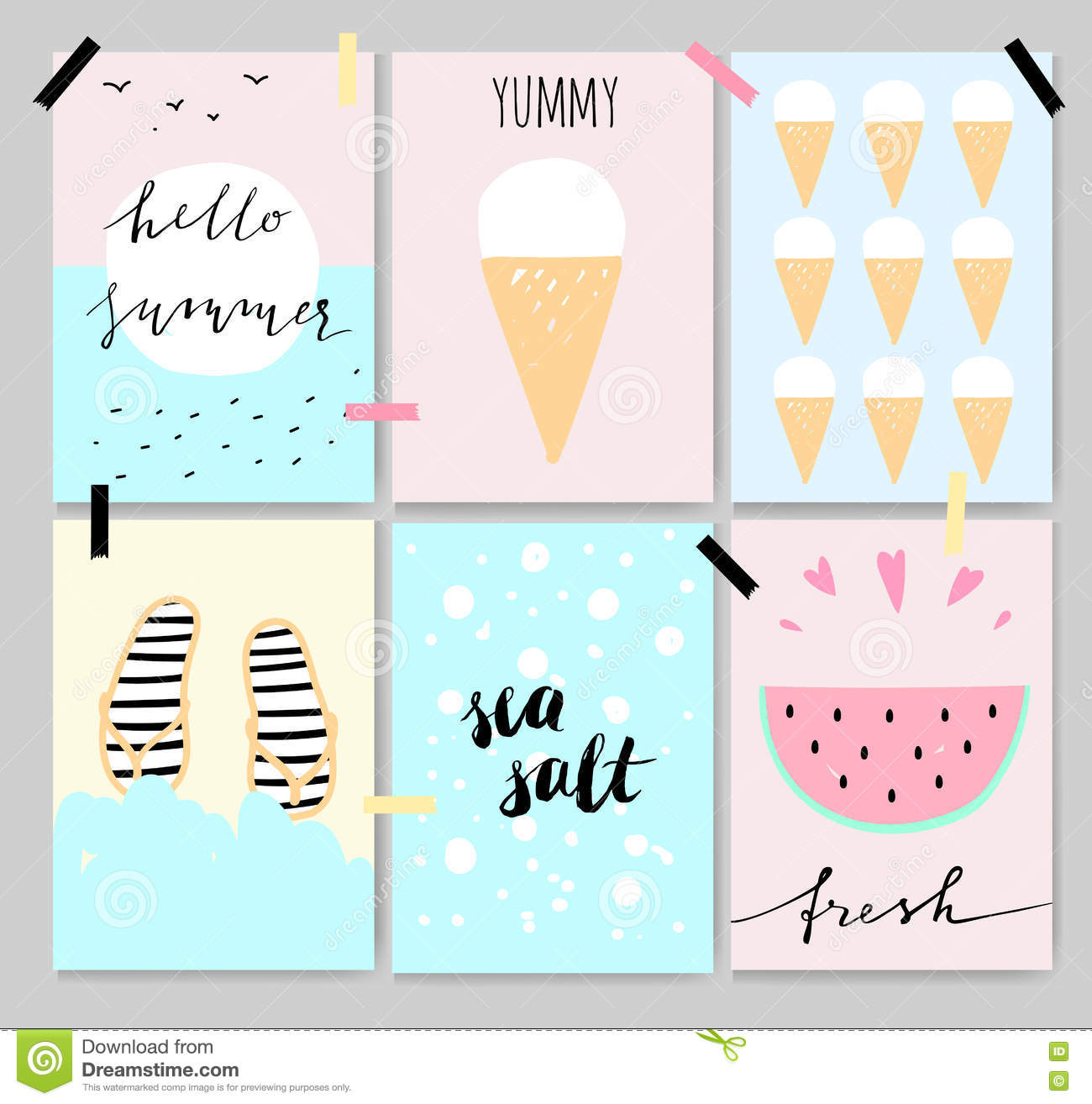 Summer Ice Cream Wallpaper: Background With Cute Watermelon In Beautiful Colors