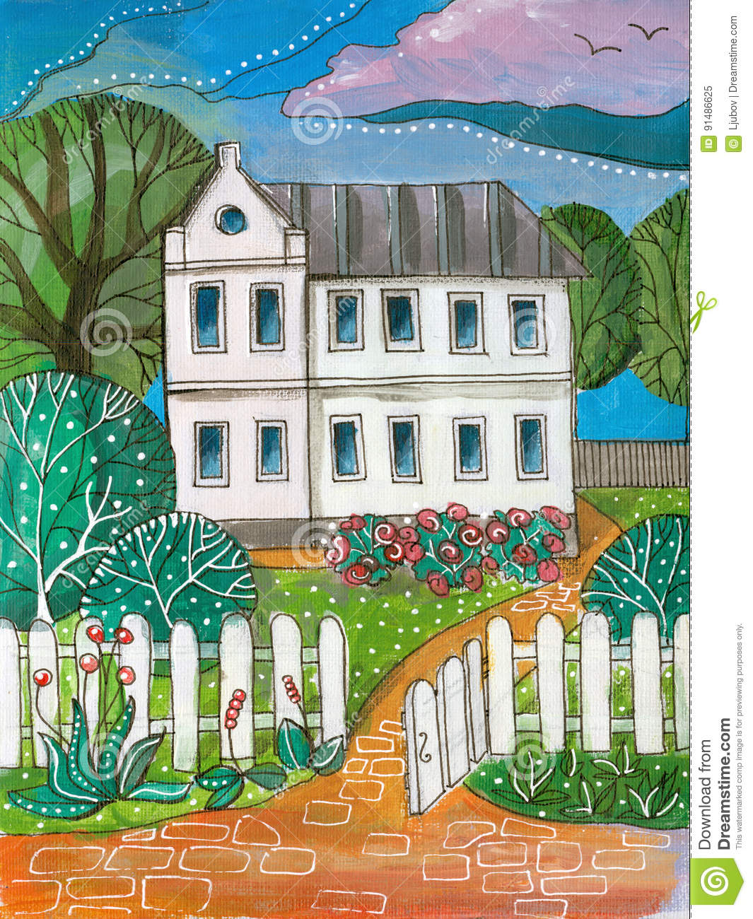 Summer day in village colorful acrylic drawing of white for Two story house drawing