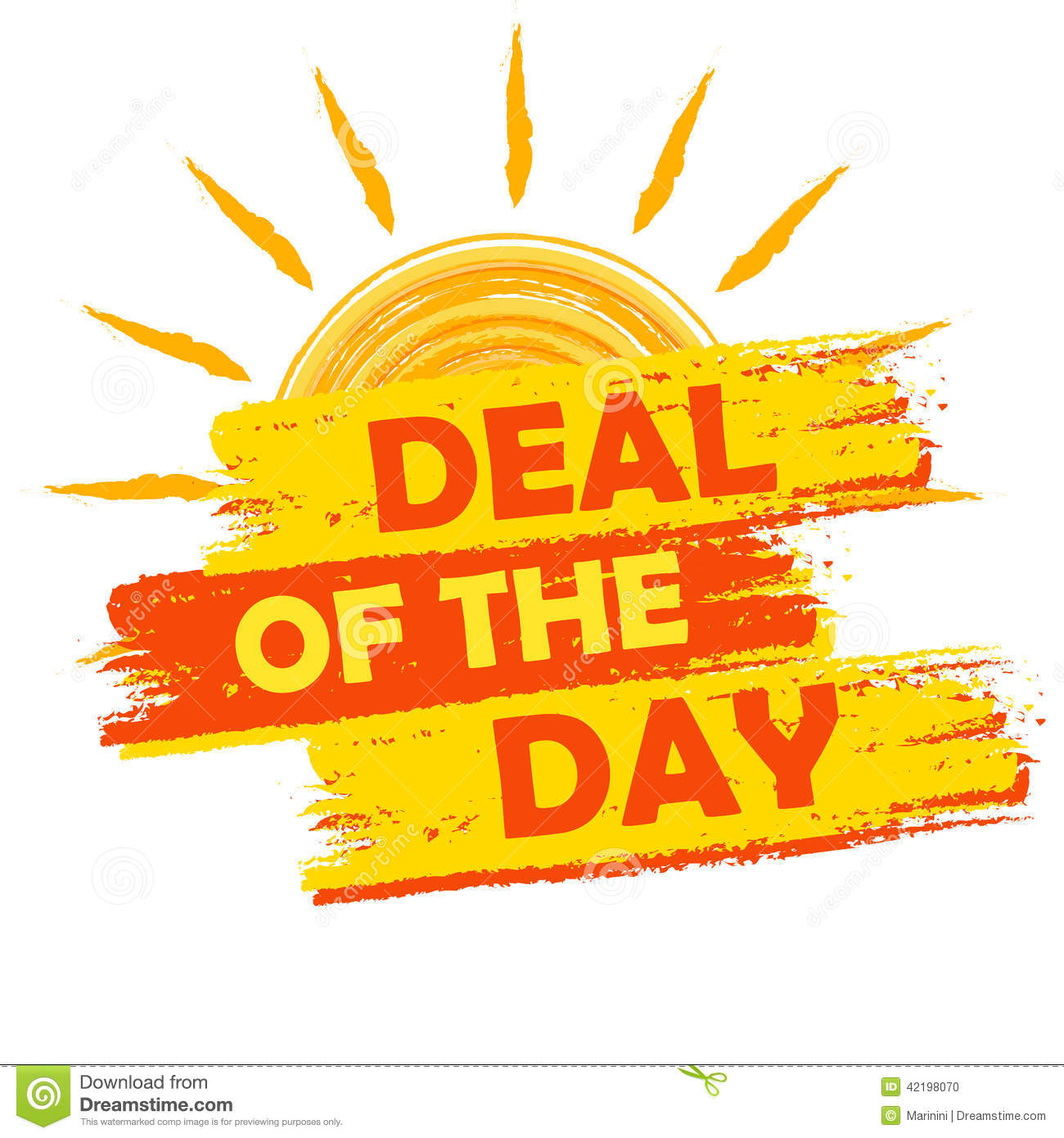 Summer deal of the day banner text in yellow and orange drawn label
