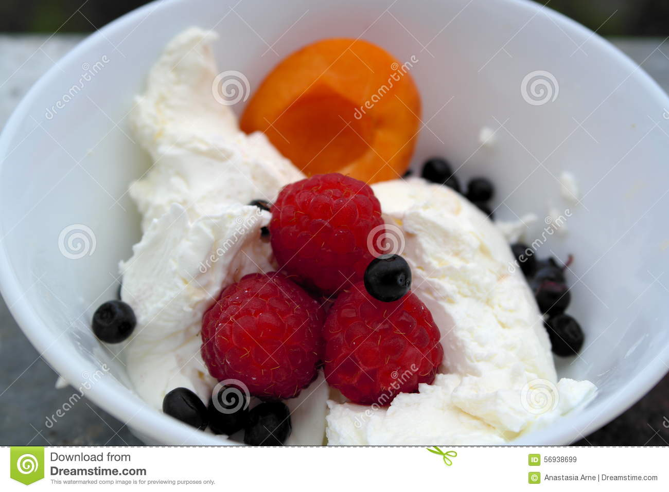 Summer Dessert With Fresh Cheese And Berries: Raspberries ...