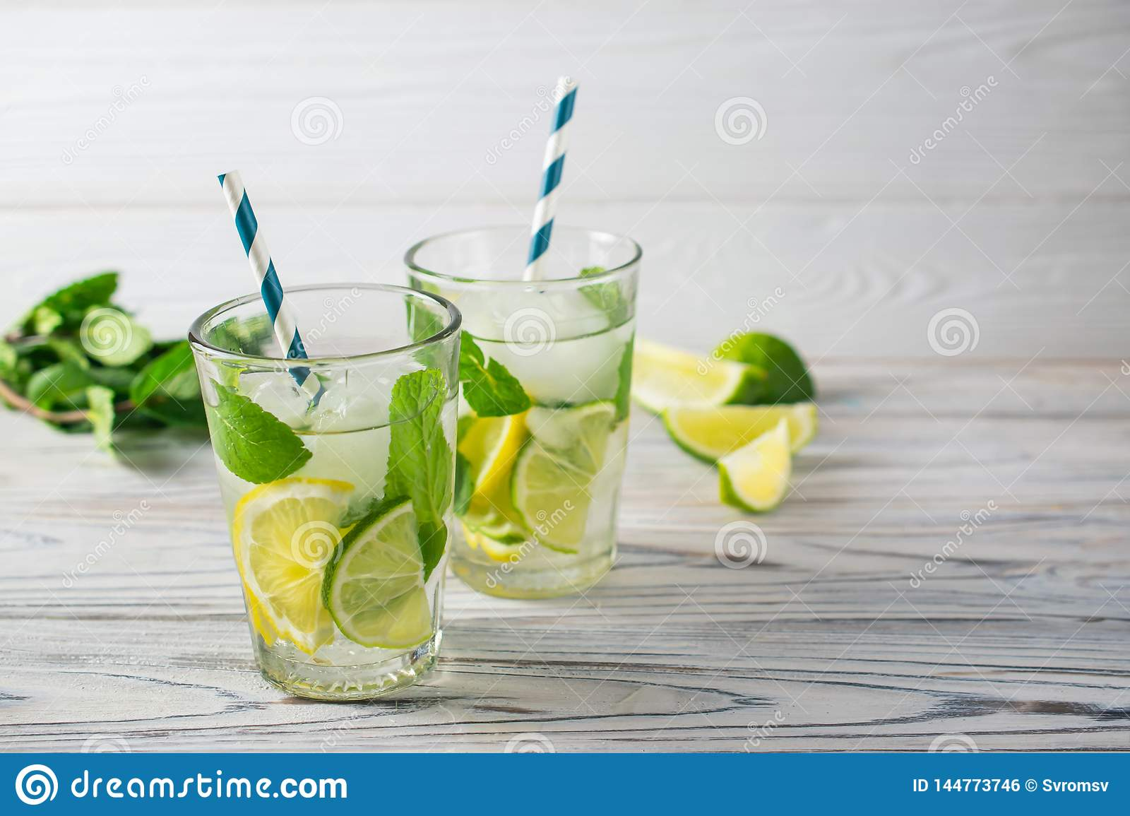 Summer detox healthy organic refreshing water with lemon, lime and mint