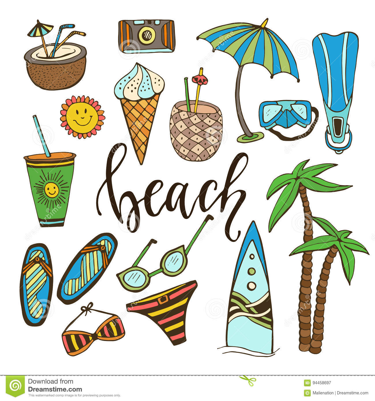 9845dda50a8c Summer doodle icons. Hand drawn stickers collection.