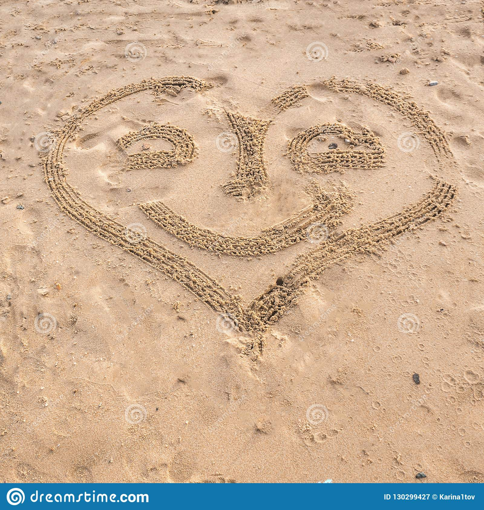 Summer Drawn Letters On A Sandy Beach Text Template Pattern
