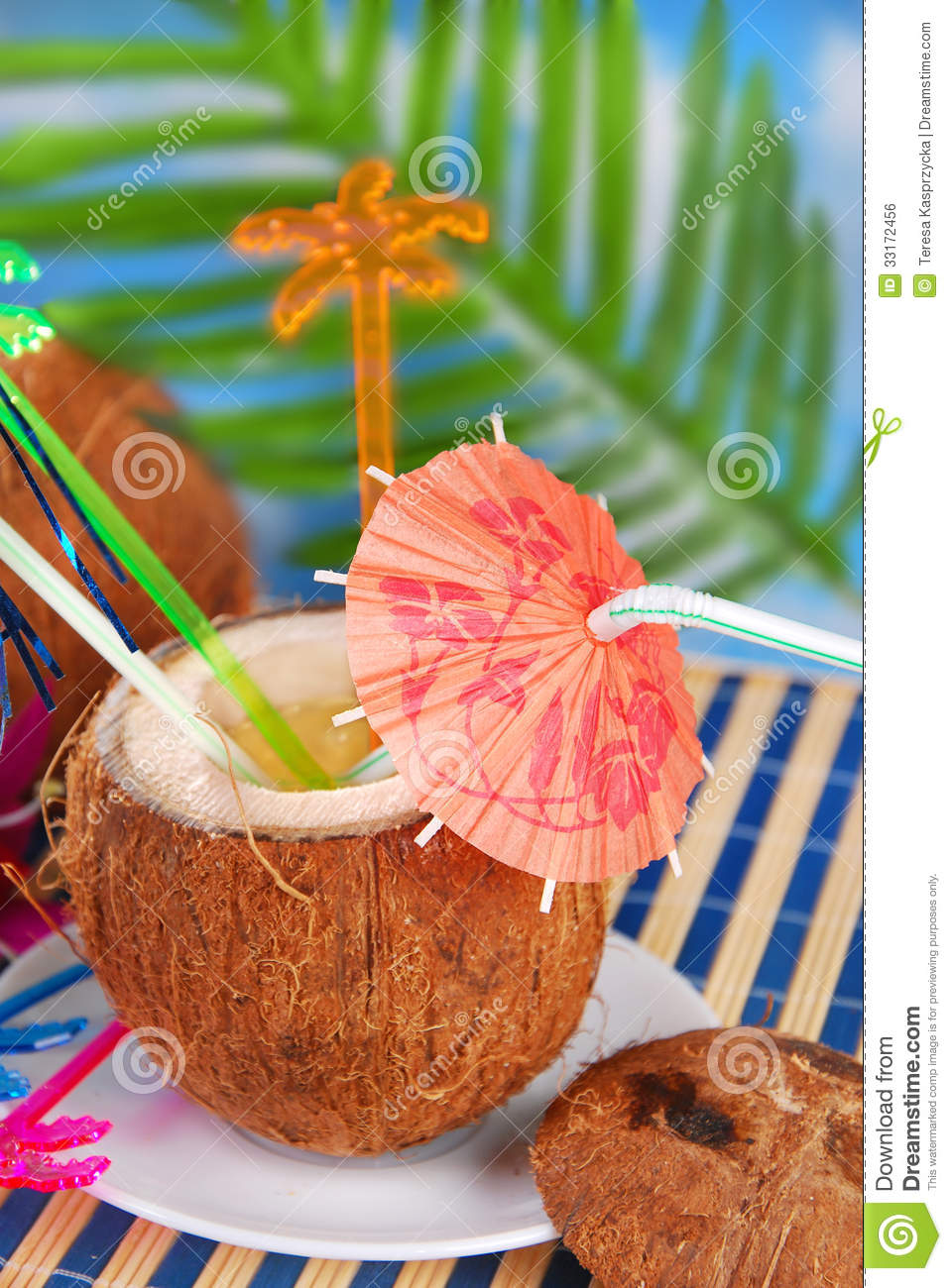 summer drink in coconut shell royalty free stock image beach umbrella clipart black and white beach umbrella clip art images