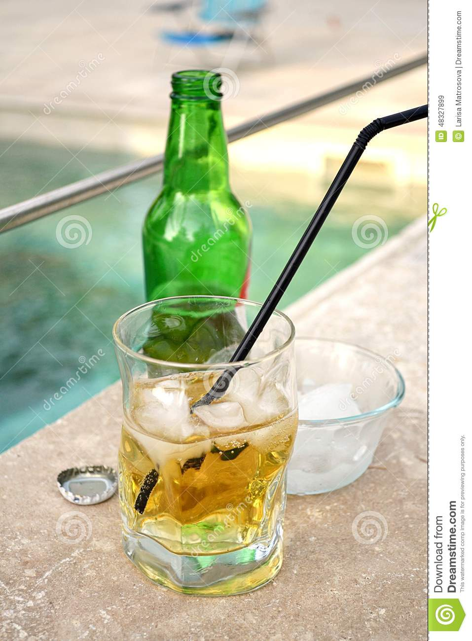 Summer Drink In A Glass Near The Swimming Pool Stock Photo Image 48327899
