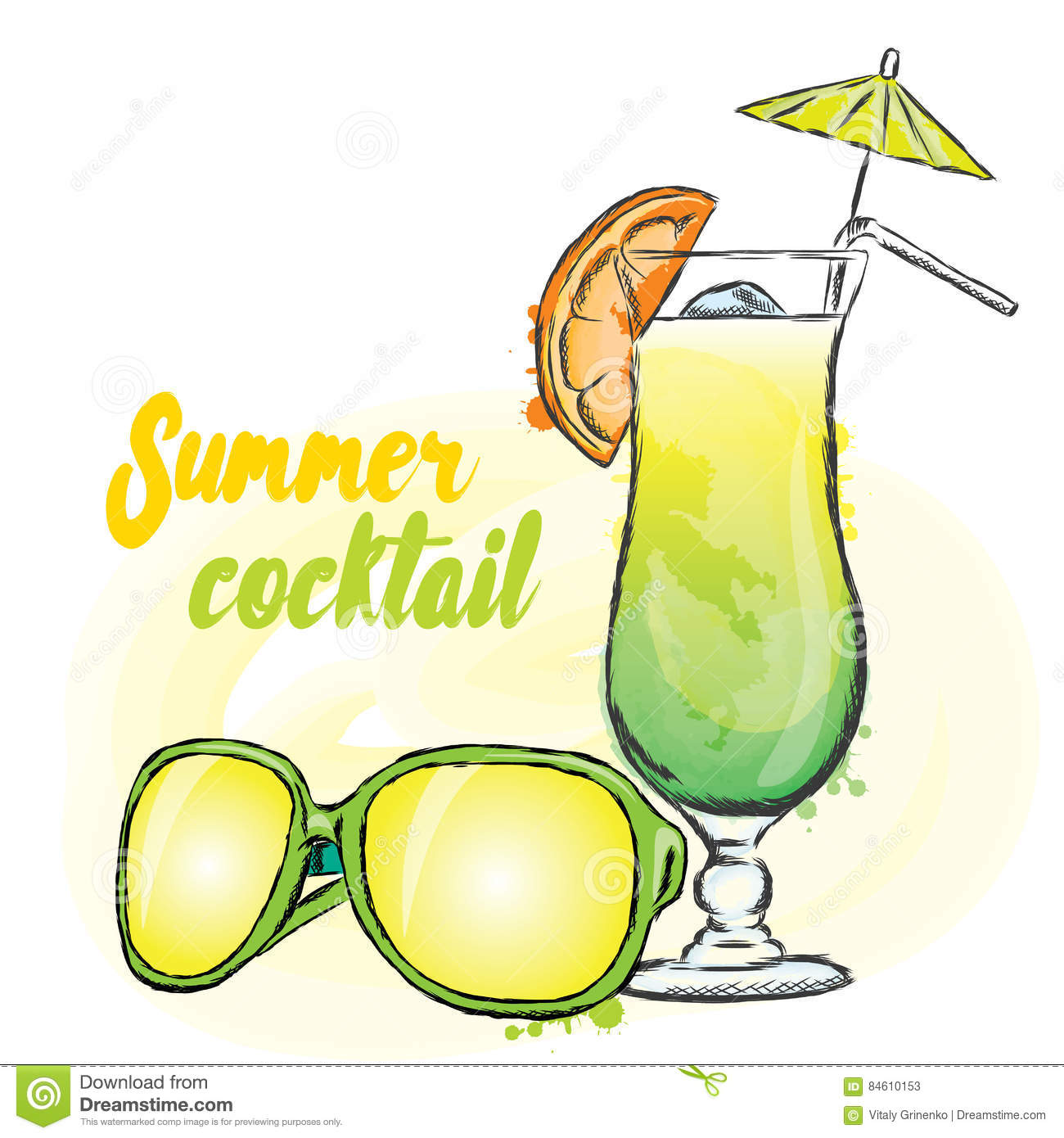 Summer Drink And Sunglasses. Vector . Vacation. Summer ...