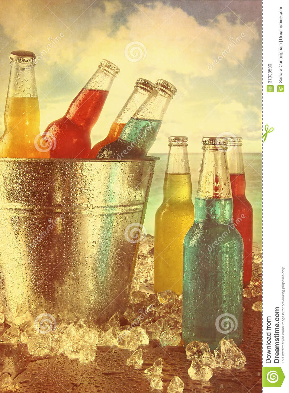 Summer Drinks In Ice Bucket At The Beach With Vintage Look