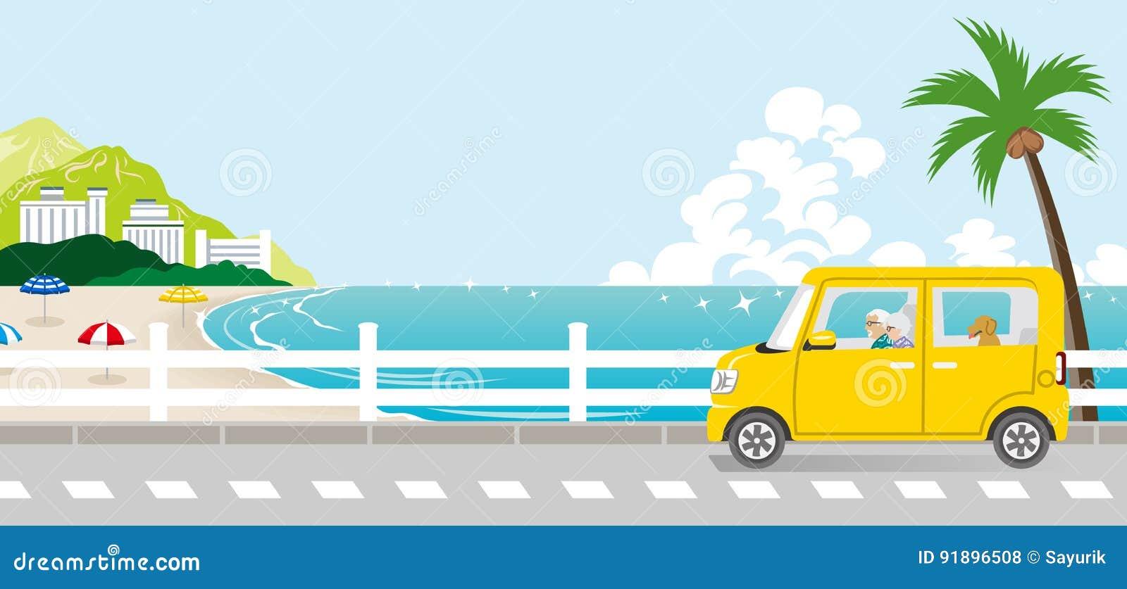 Summer drive in the Seaside street - Senior couple