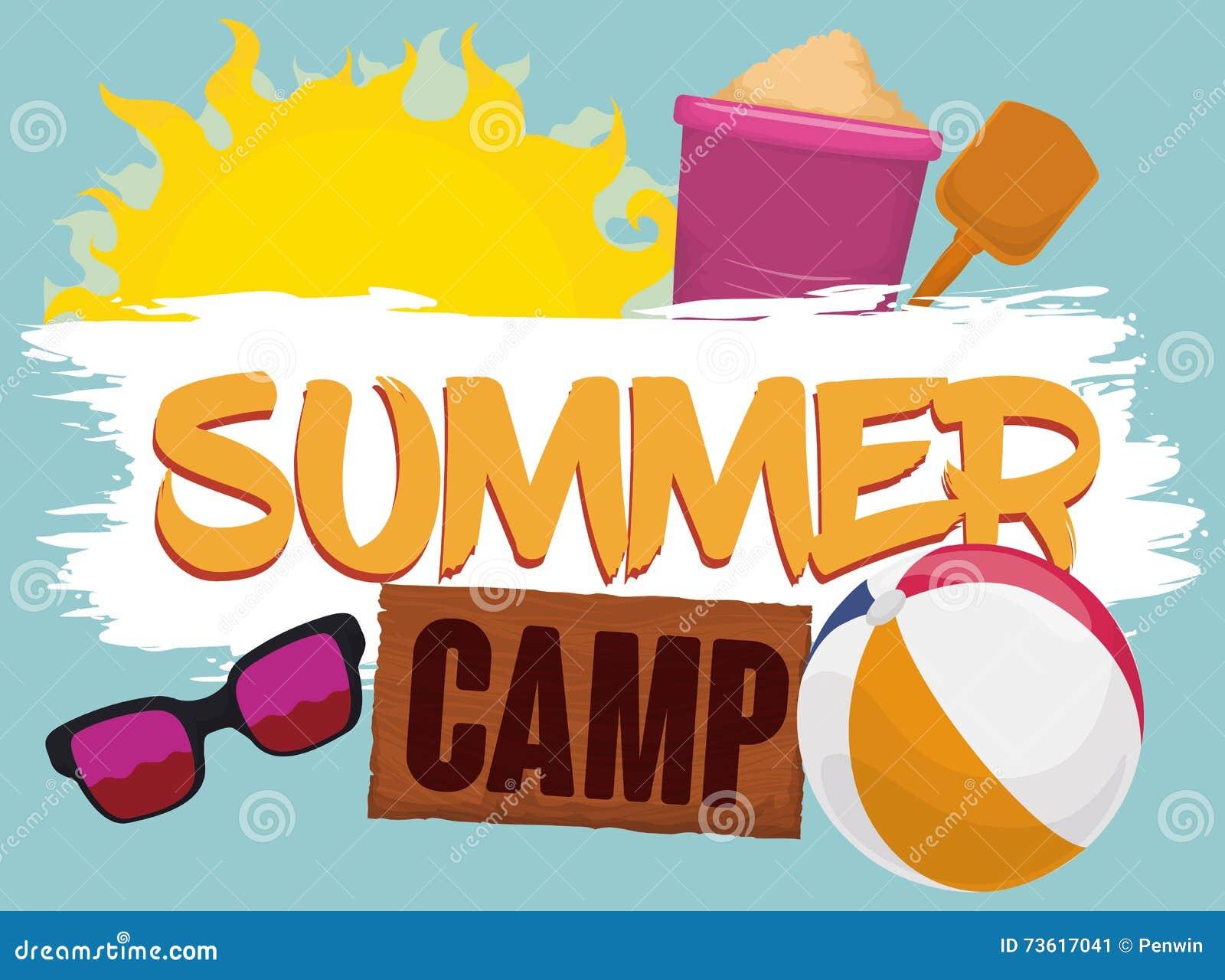 Summer Camp Poster. Vector Illustration. Vector ...