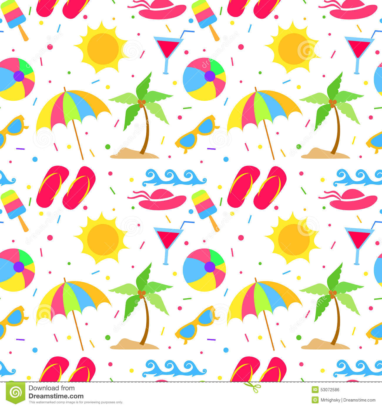 Summer Elements Seamless Pattern Stock Vector Image