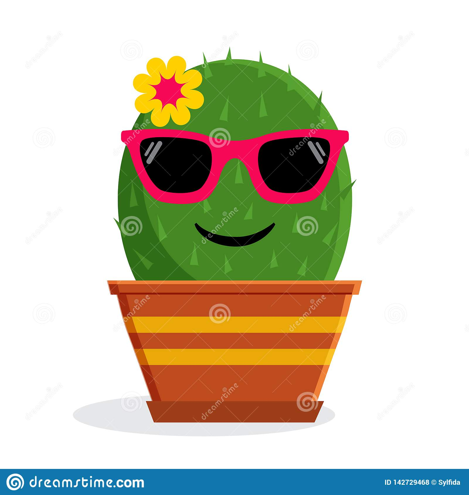 Summer Emoticon Cactus With Sunglasses. Vector ...