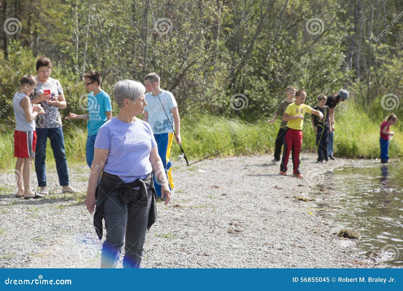 Download Summer Family Fun Day Reflections Lake Alaska Editorial Image - Image of rescue, alaska: 56855045