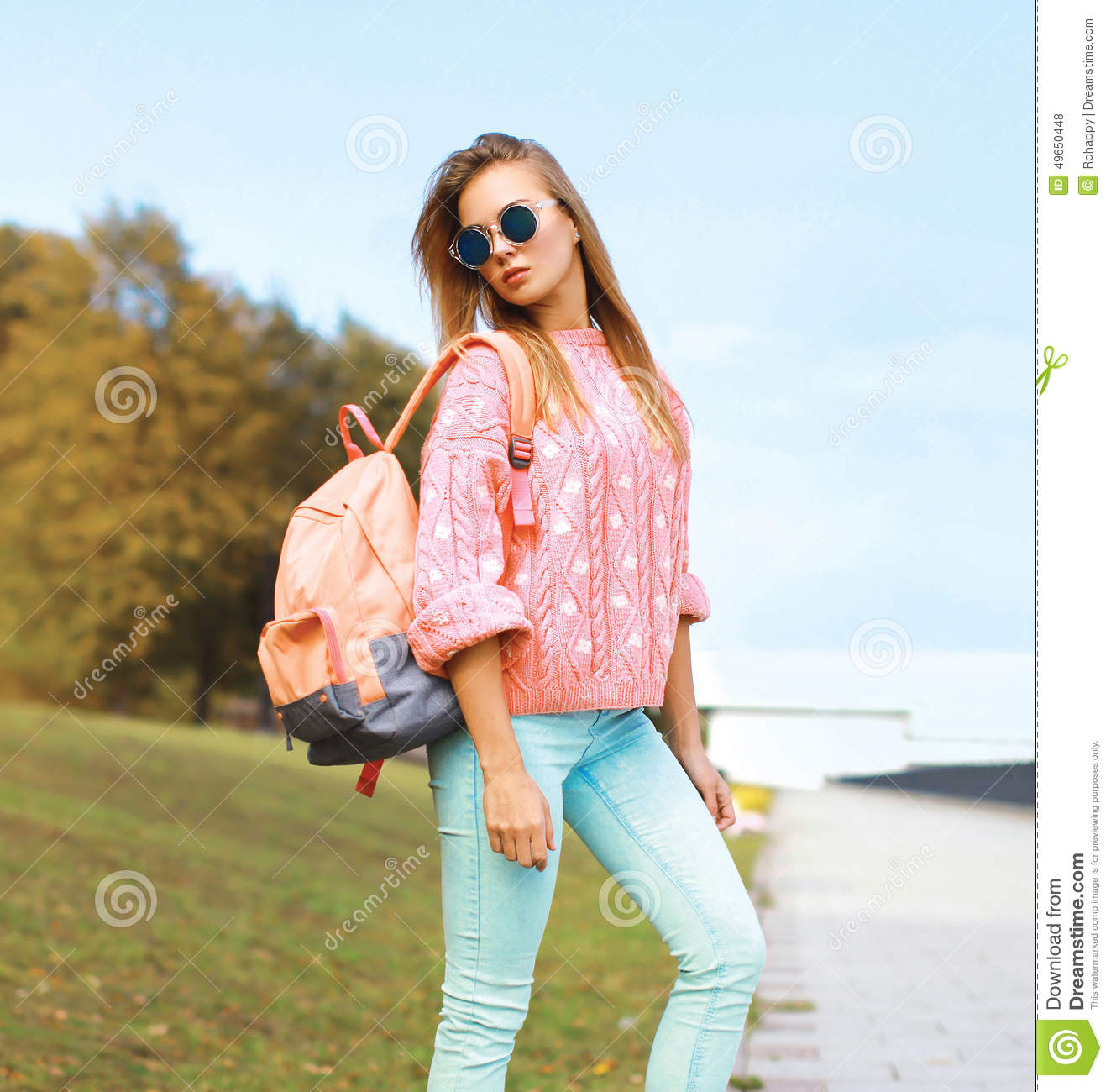 Summer Fashion And People Concept Pretty Stylish Hipster Girl Stock Photo Image 49650448