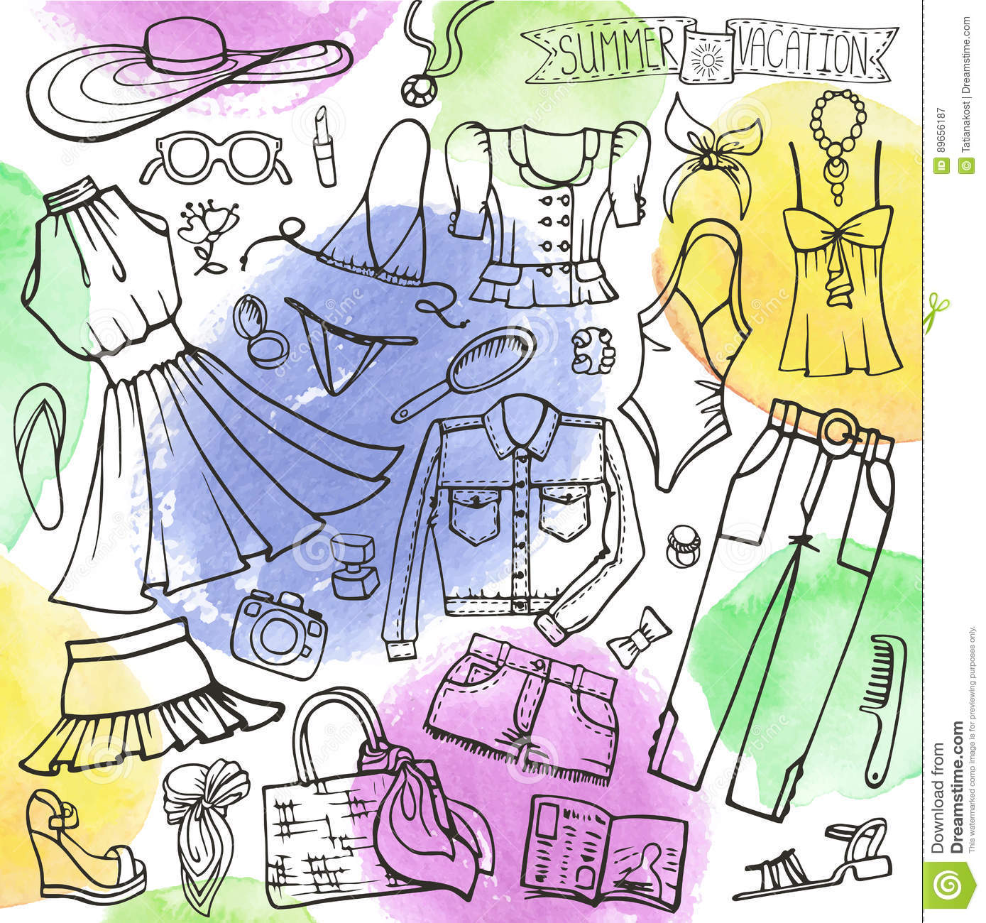 42b28a88a7ae Fashion illustration.Vector hand drawn fashionable women clothes and  accessories on white background. Summer vacation wear.Retro Sketches for  scrapbooking ...