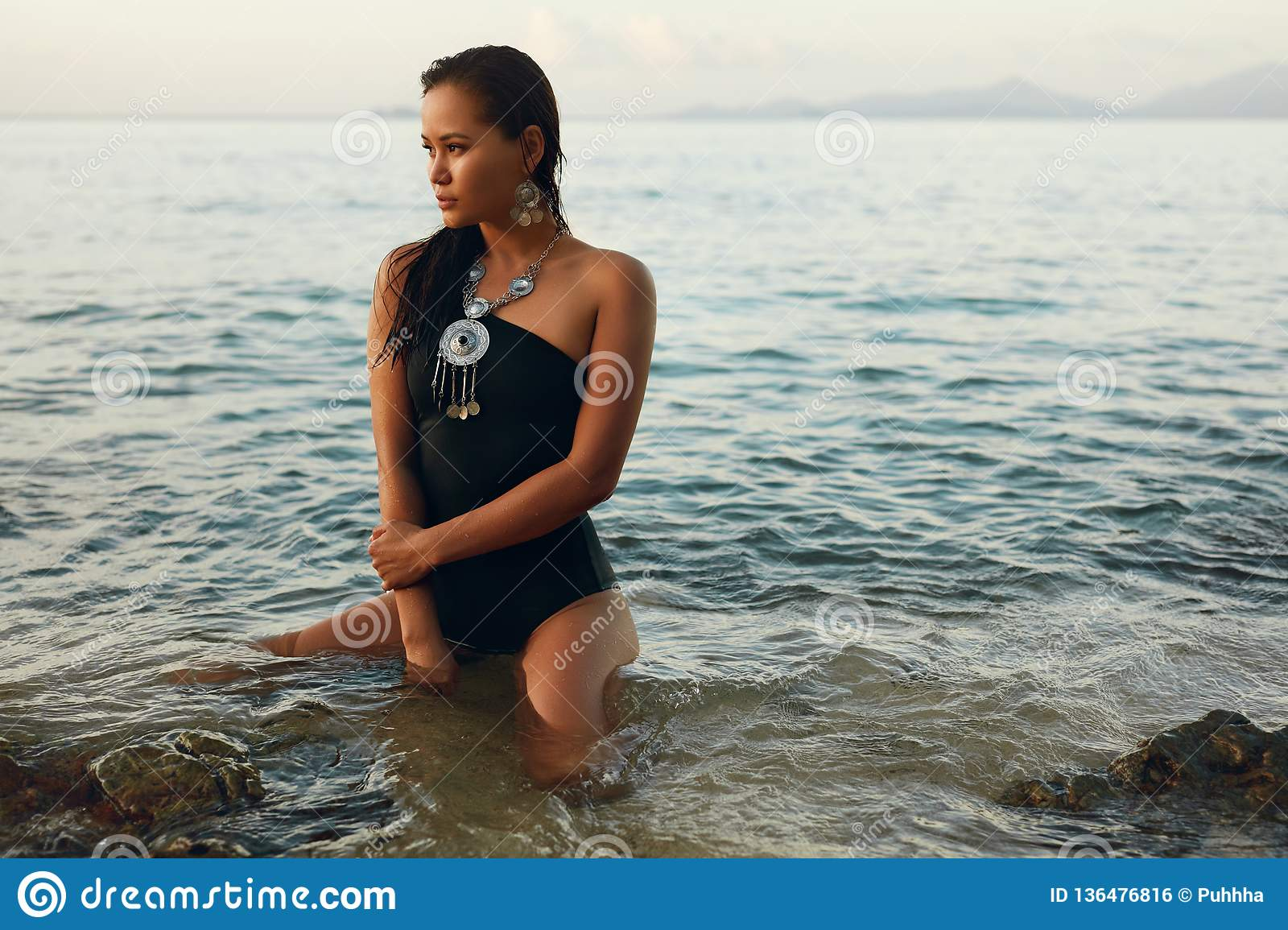 Summer Fashion. Asian Woman In Swimsuit On Beach Stock Photo ...