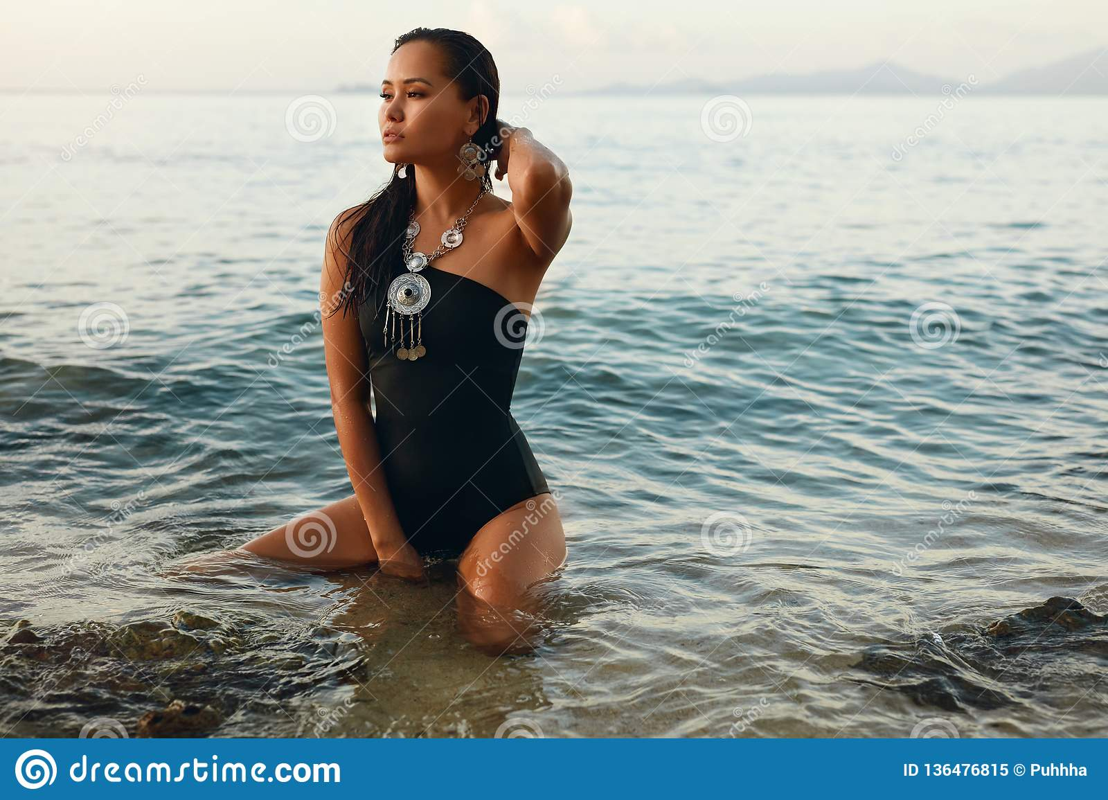 Summer Fashion. Asian Woman In Swimsuit On Beach Stock Image ...