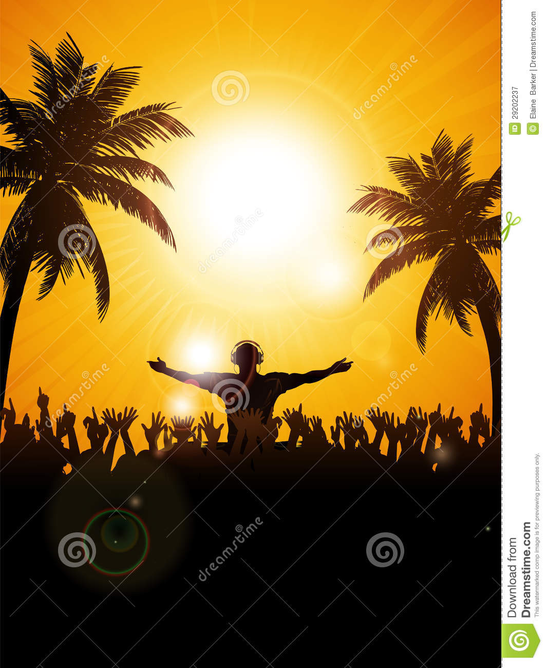 Summer Festival With Dj And Palm Trees Stock Illustration
