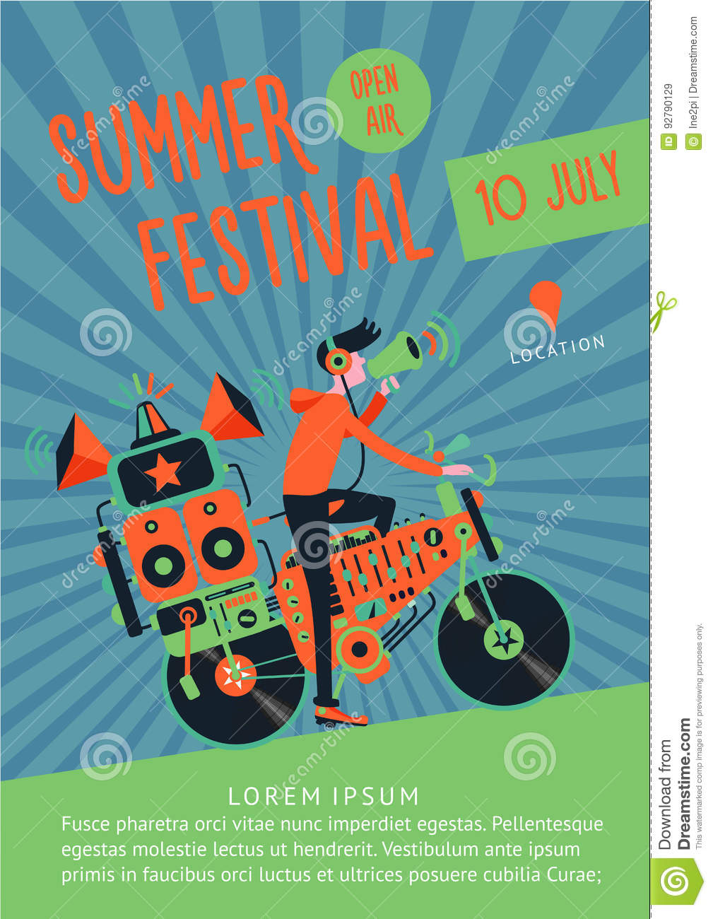 Summer Festival Music Poster Template With Dj And Bike. Stock Vector ...
