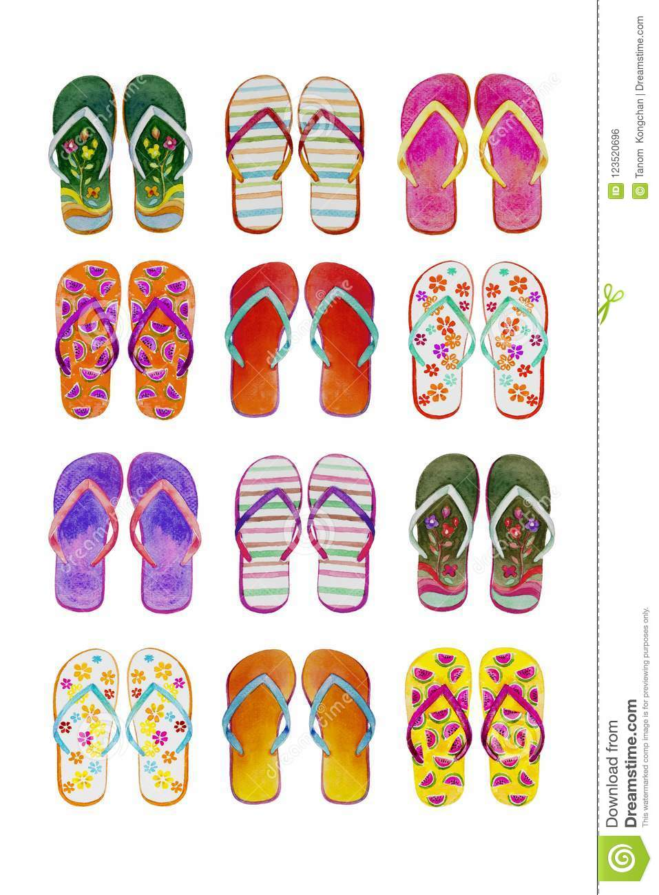 391236a6a8dd Royalty-Free Illustration. Summer flip flops set of colorful isolated