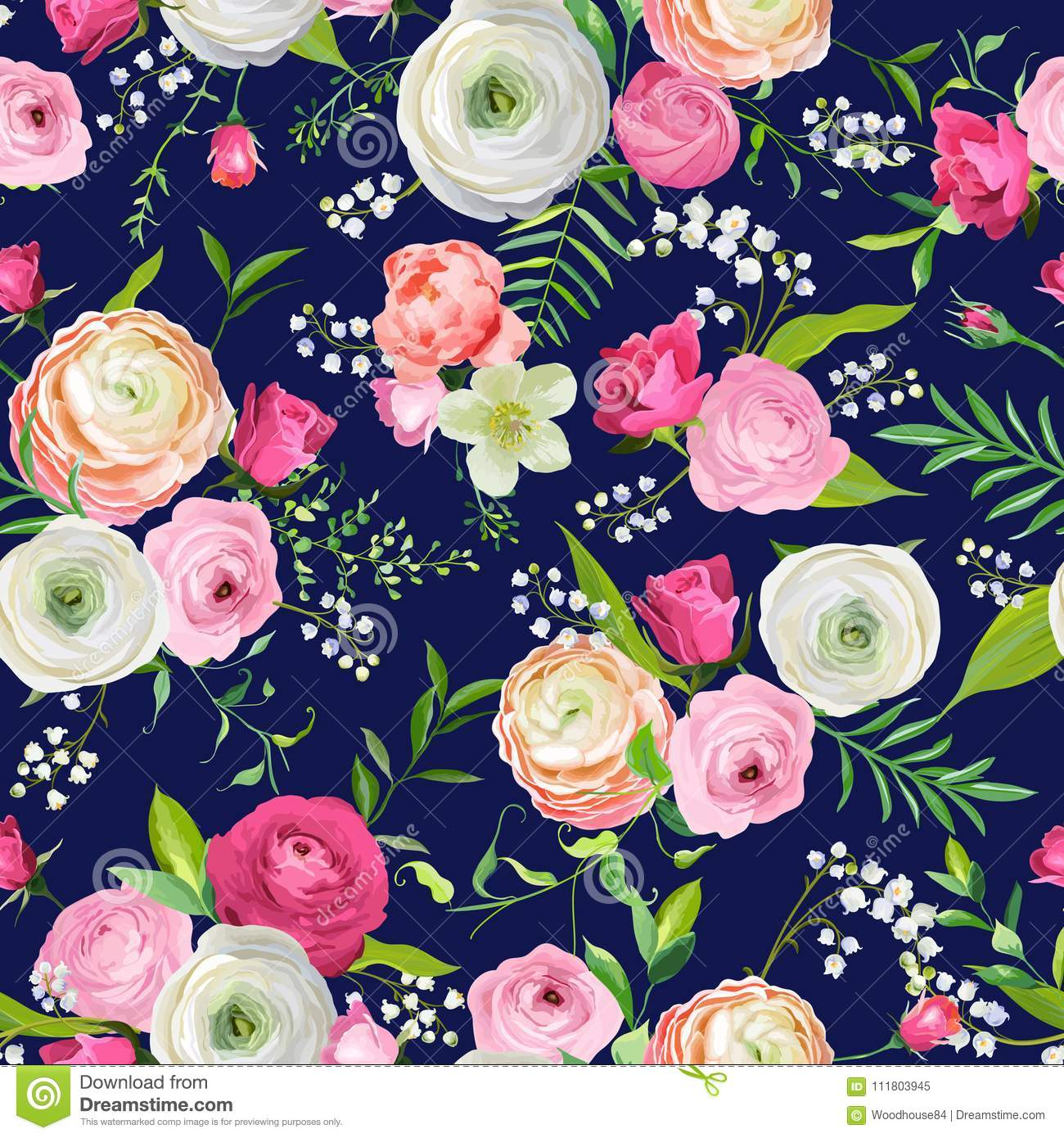 Summer Floral Seamless Pattern With Pink Flowers And Lily