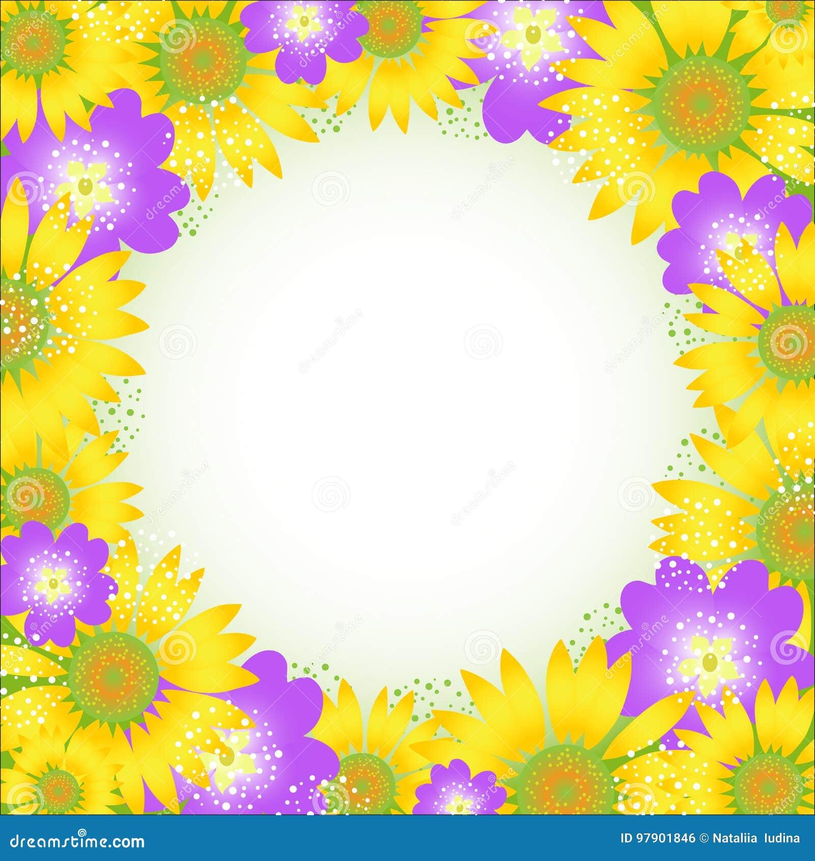 Summer flower frame. Vector illustration.