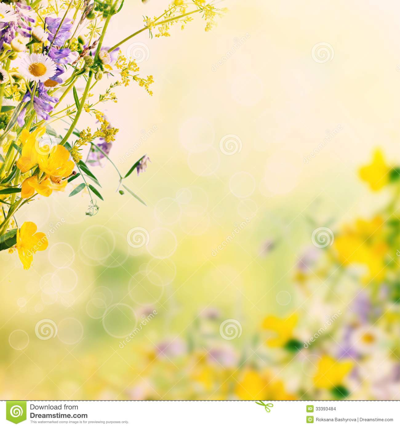 Bouquet of summer meadow flowers with bokeh and copy space, floral ...