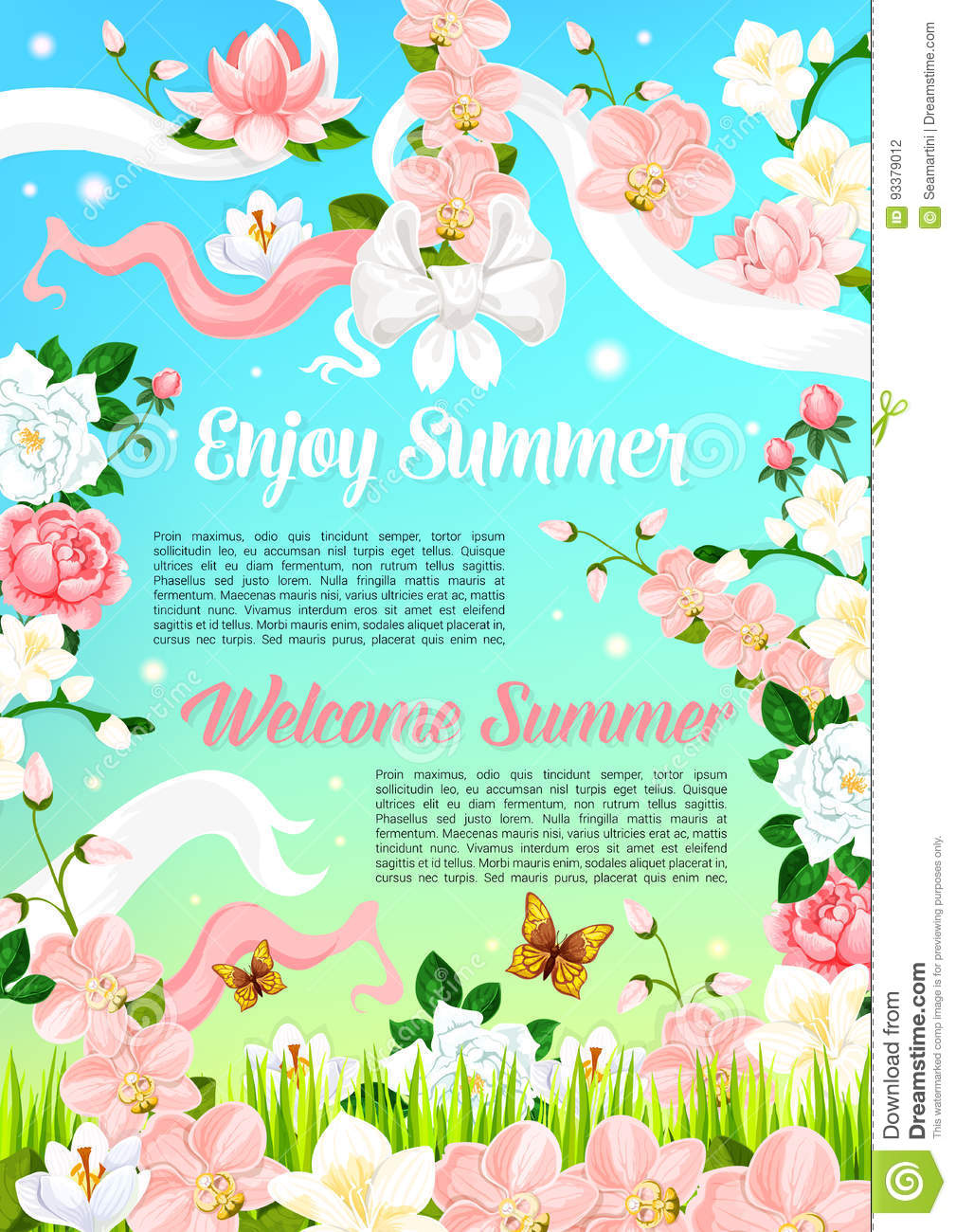 Summer Flowers Floral Bouquets Vector Poster Stock Vector