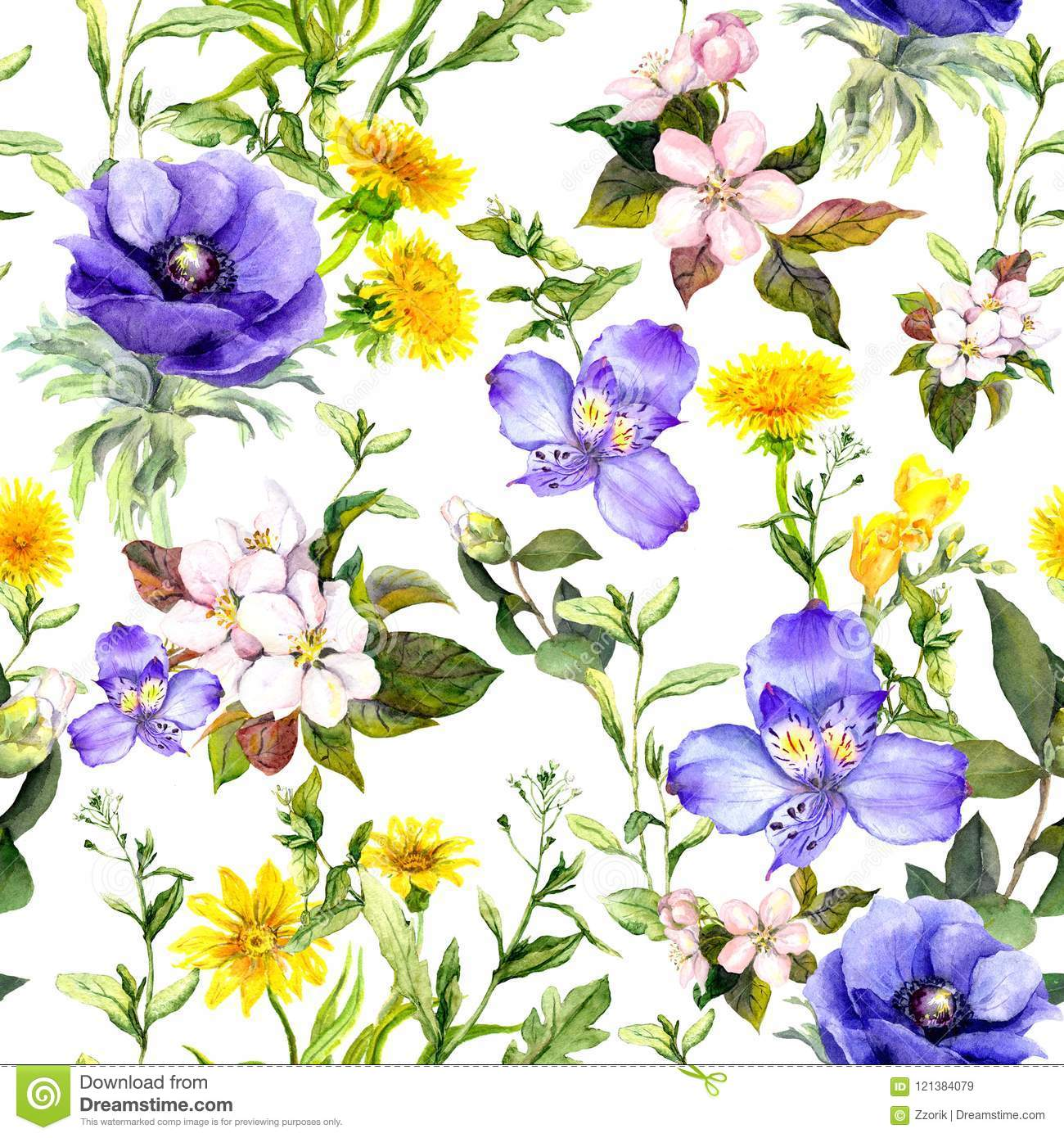 Summer Flowers Meadow Grasses Spring Herbs Seamless Natural