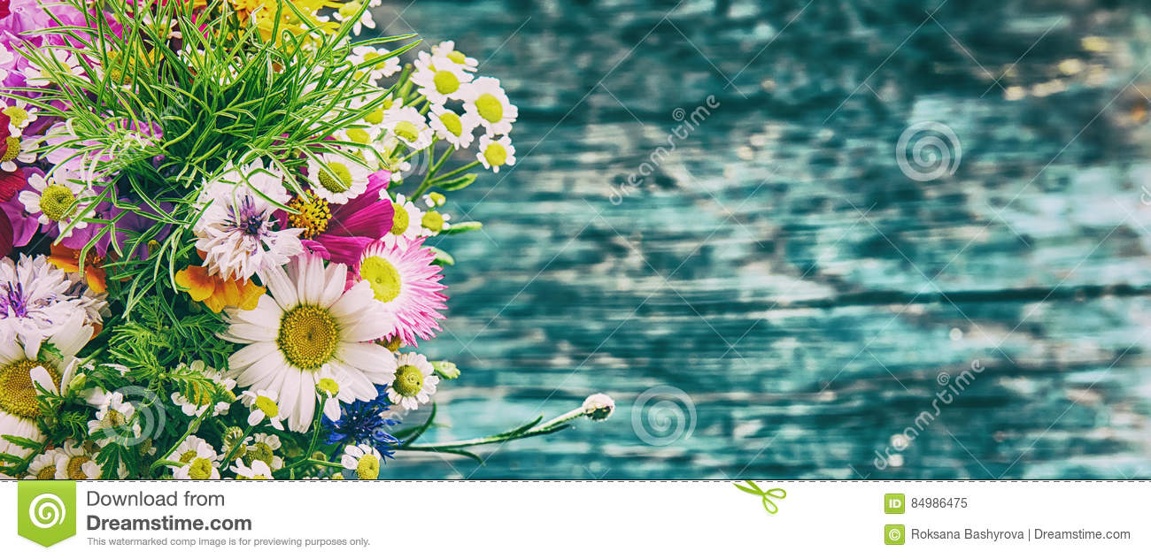 Summer flowers mock up stock image image of flower birthday 84986475 bouquet of fresh summer flowers on the blue wooden grunge desk mock up for greeting cards holiday postcards invintation and anniversary celebration in izmirmasajfo
