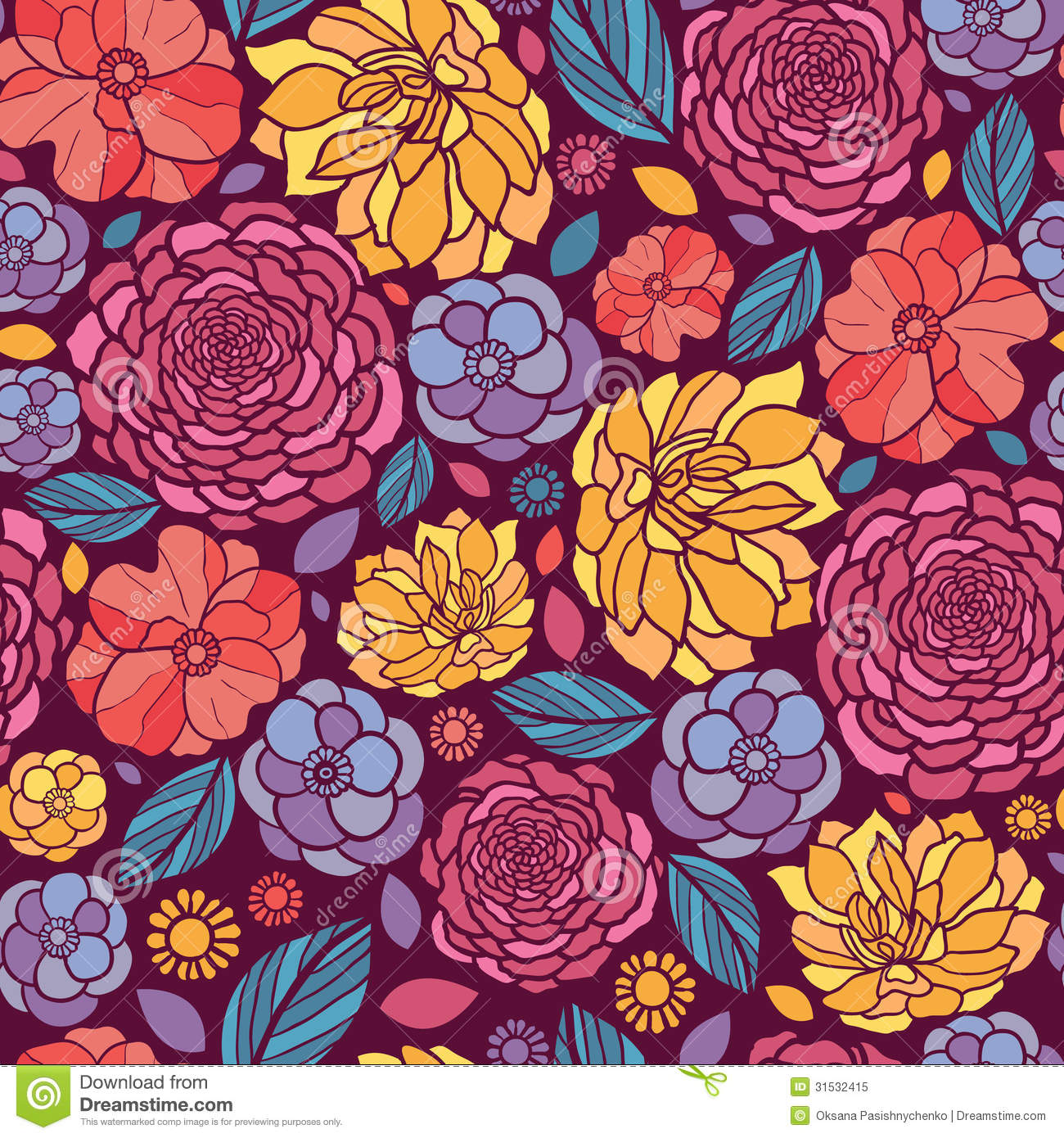 Summer Flowers Seamless Pattern Background Royalty Free Stock Photo ...