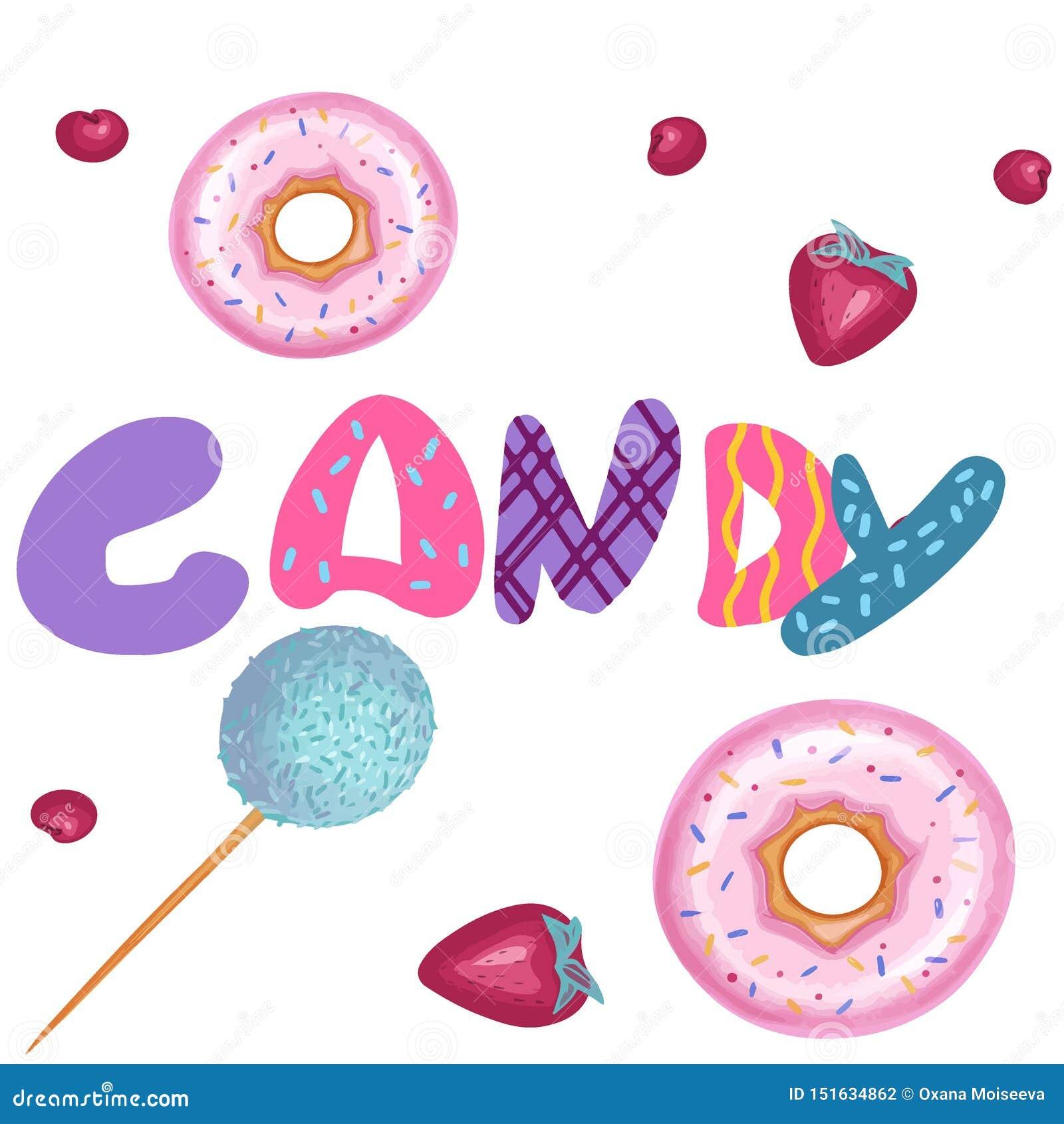 Summer food illustration, set of candy bar.