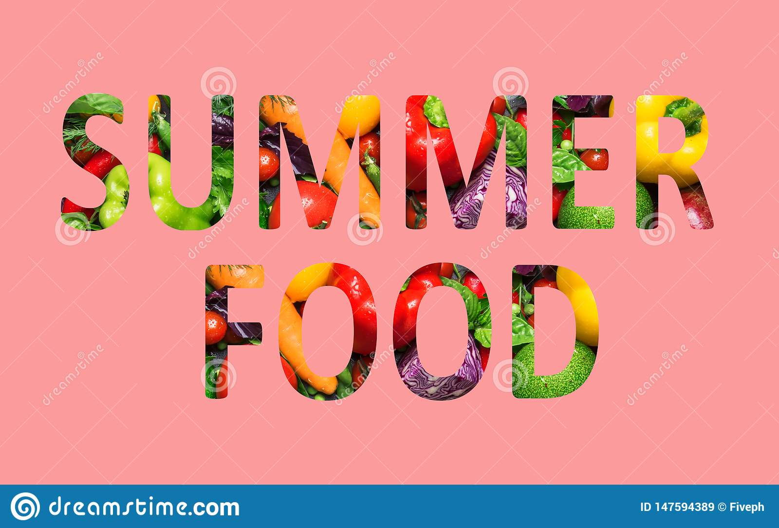 Summer food, multi-colored text cut out of vegetables photo, the inscription on pink background