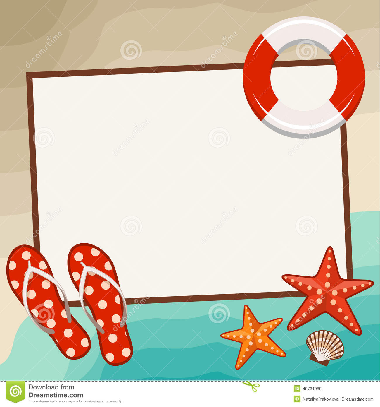 summer frame with beach symbols stock photo